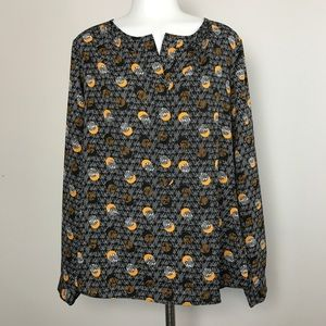 CAbi Medium Blouse black orange Top